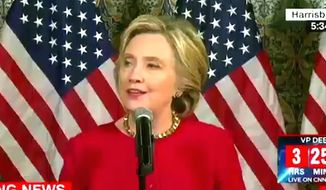 Hillary Clinton told reporters on Tuesday, Oct. 6, 2016, that she didn't recall making any comments or jokes about killing WikiLeaks founder Julian Assange during her tenure as secretary of state. (CNN screenshot)