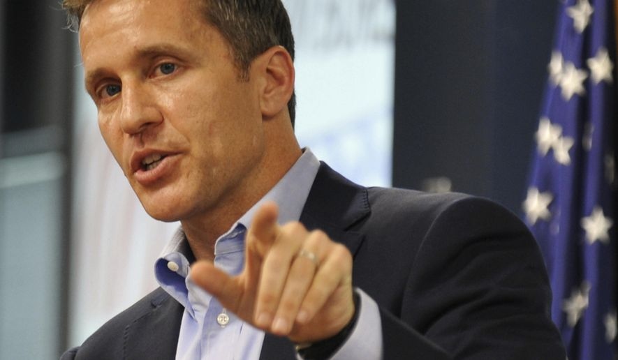 FILE - In this Aug. 5, 2016 file photo, Missouri Republican gubernatorial candidate Eric Greitens speaks in Jefferson City, Mo. Gubernatorial candidates in some states including Missouri have been staking strategic positions contrary to their party's national norms and presidential nominees. A former Navy SEAL officer, Greitens faces Democratic nominee, Attorney General Chris Koster in the general election. (Julie Smith/The Jefferson City News-Tribune via AP, File)