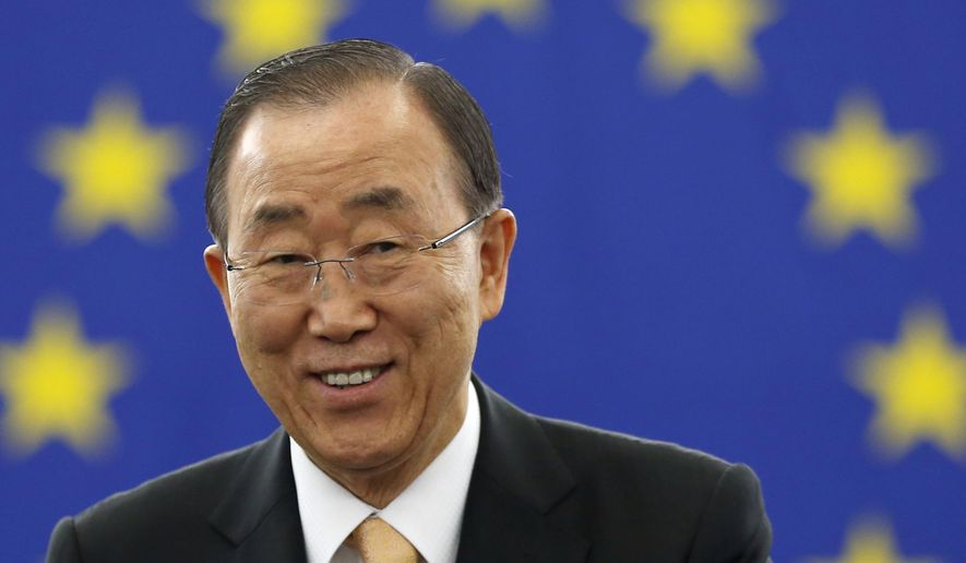UN Secretary General Ban Ki-moon gestures before addressing members of the European Parliament in Strasbourg, eastern France, Tuesday, Oct. 4, 2016. U.N. Secretary-General Ban Ki-moon spoke to the European Parliament ahead of a historic vote on the Paris climate accord. Final support from Europe will give the pact sufficient global support for it to enter into force around the world. (AP Photo/Jean-Francois Badias)