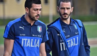 Italy's Graziano Pelle, left, and Leonardo Bonucci attend a training session of the Italian national soccer team ahead of Thursday's World Cup Group G qualifying match against Spain, at the Coverciano training center, near Florence, Italy, Monday, Oct. 3, 2016. (Maurizio Degl'Innocenti/ANSA via AP)
