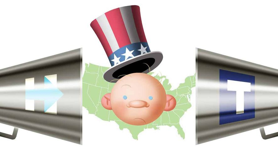 Illustration on the 2016 presidential campaign by Alexander Hunter/The Washington Times