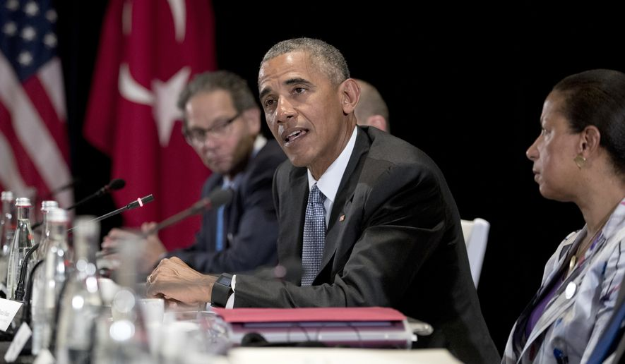 U.S. President Barack Obama, joined by National Security Adviser Susan Rice, right, speaks to the media after a bilateral meeting with Turkish President Recep Tayyip Erdogan in Hangzhou in eastern China's Zhejiang province, Sunday, Sept. 4, 2016, alongside the G20 Summit. (AP Photo/Carolyn Kaster)