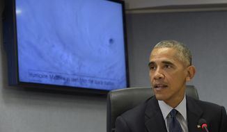 President Barack Obama speaks after getting updated on Hurricane Matthew during a visit to FEMA headquarters in Washington, Wednesday, Oct. 5, 2016. (AP Photo/Susan Walsh)