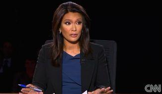 Elaine Quijano moderated CBS News' vice presidential debate on Tuesday, Oct. 4, 2016. (CNN screenshot)