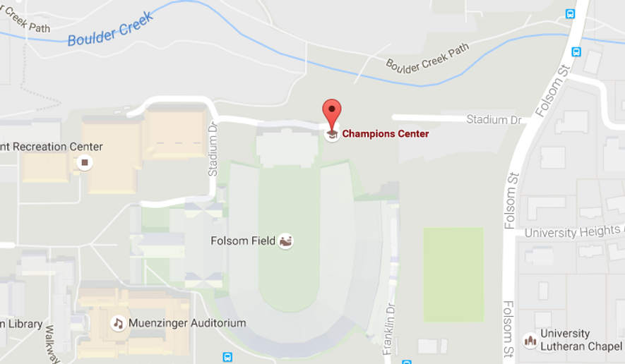 Screen shot from Google Maps showing the Champions Center on the Colorado University campus in Boulder. A machete-wielding man was shot and killed by police there on Oct. 5, 2016, after failing to drop his weapon.