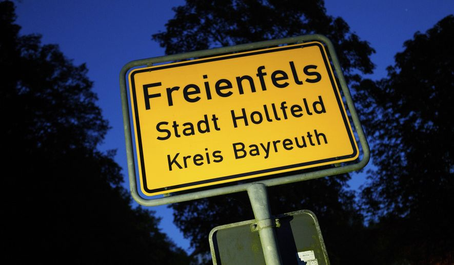 The Oct. 4, 2016 photo shows the town sign of Freienfels near Bayreuth, southern Germany, where a 43 years-old man was found who didn't leave his parents' house for many years. (Nicolas Armer/dpa via AP)