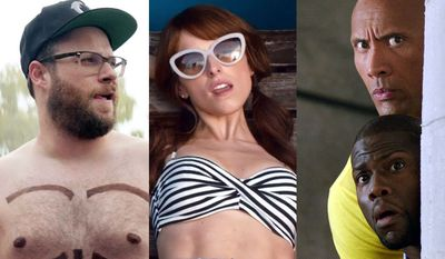 """Seth Rogen in """"Neighbors 2,"""" Anna Kendrick in """"Mike and Dave Need Wedding Dates"""" and Dwayne Johnson and Kevin Hart in """"Central Intelligence,"""" all available on Blu-ray."""