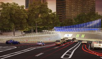 """In this artist rendering provided by the office of New York Gov. Andrew Cuomo, cars approach a fully-automated toll system at the entrance to New York's Queens-Midtown Tunnel in Manhattan. Cuomo has unveiled a futuristic plan for New York City that includes color LED illumination of bridges, completely automated toll booths and driver facial recognition cameras for tighter security. The governor presented what he calls his """"New York Crossings Project"""" on Wednesday Oct. 5, 2016, at the New-York Historical Society in Manhattan. (NY Governor's Office via AP)"""