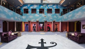 This undated photo provided by Paisley Park/NPG Records shows the atrium of Prince's Paisley Park in Chanhassen, Minn. Prince's handwritten notes are still sitting out inside the control room of Studio A where he recorded some of his greatest hits. It's filled with keyboards and guitars. Those are some of the highlights visitors will see when Prince's home and work space, Paisley Park, opens for its first public tours Thursday, Oct. 6, 2016. (Paisley Park/NPG Records via AP)
