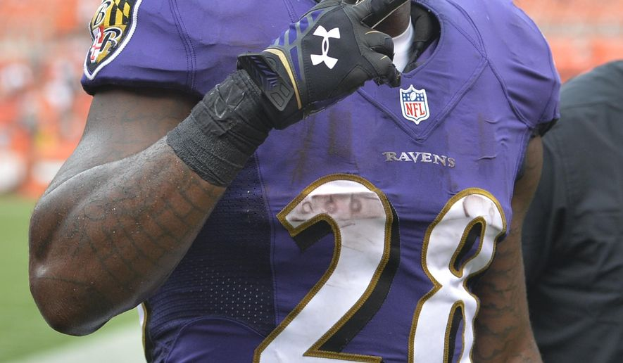 FILE - In this Sept. 18, 2016, file photo, Baltimore Ravens running back Terrance West walks off the field after a 25-20 win over the Cleveland Browns, in an NFL football game in Cleveland. West wanted the brunt of the workload carrying the ball for the Baltimore Ravens. Now that Justin Forsett is gone, it appears West will get his wish. (AP Photo/David Richard, File)