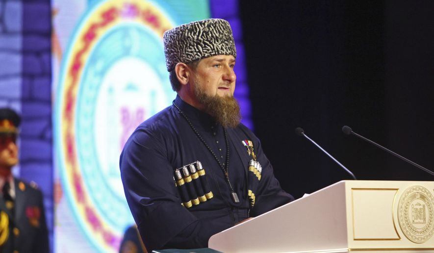 Chechen regional leader Ramzan Kadyrov speaks at his inauguration ceremony in Chechnya's provincial capital Grozny, Russia, Wednesday, Oct. 5, 2016. The Kremlin has relied on Kadyrov to stabilize Chechnya after two separatist wars, turning a blind eye to what critics describe as rampant human rights violations in the North Caucasus region. (AP Photo/Musa Sadulayev)