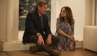 "This image released by HBO shows Thomas Haden Church, left, and Sarah Jessica Parker in s scene from ""Divorce,"" premiering Sunday at 10 p.m. EDT. (Craig Blankenhorn/HBO via AP)"