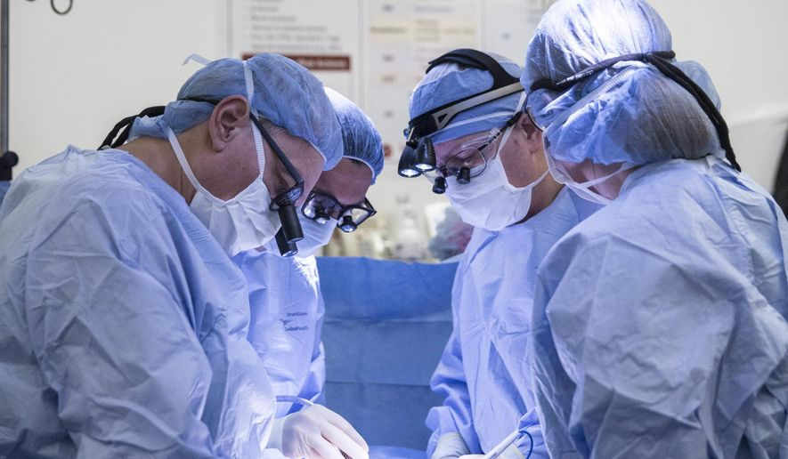 In this September 2016 photo provided by Baylor Scott & White Health, surgeons perform a uterine transplant during a clinical trial at the Baylor University Medical Center at Dallas. On Wednesday, Oct. 5, 2016, the hospital said four women who had been born without a uterus received one in operations in September. Three of the wombs have had to be removed because of poor blood flow, but a hospital statement says the fourth recipient still has hers and is showing no signs of rejection. (Baylor Scott & White Health via AP)