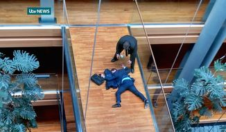Would-be U.K. Indepedence Party head Stephen Woolfe was assaulted at the European Parliament as the pro-Brexit party remains leaderless. (Associated Press)