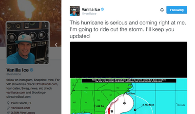 Screen shot of rapper Vanilla Ice's Twitter feed. In this tweet, he tells fans he's decided to ride out Category 4 Hurricane Matthew as it bears down on his Palm Beach, Fla., home.
