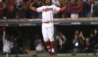 Cleveland Indians' Francisco Lindor celebrates his solo home run against the Boston Red Sox in the third inning during Game 1 of baseball's American League Division Series, Thursday, Oct. 6, 2016, in Cleveland. (AP Photo/Aaron Josefczyk)