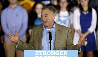Democratic vice presidential candidate Sen. Tim Kaine, D-Va., speaks at a campaign event at the Sheet Metal Workers Local Union 19 Hall, Wednesday, Oct. 5, 2016, in Philadelphia. (AP Photo/Matt Slocum)