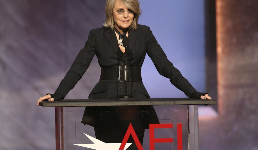 FILE - In this June 4, 2015 file photo, Diane Keaton speaks at the 43rd AFI Lifetime Achievement Award Tribute Gala honoring Steve Martin at the Dolby Theatre in Los Angeles. The institute said Thursday, Oct. 6, 2016, that Keaton will be honored with the American Film Institute's Life Achievement Award at a gala on June 8, 2017, that will be broadcast on TNT. (Photo by Paul A. Hebert/Invision/AP, File)