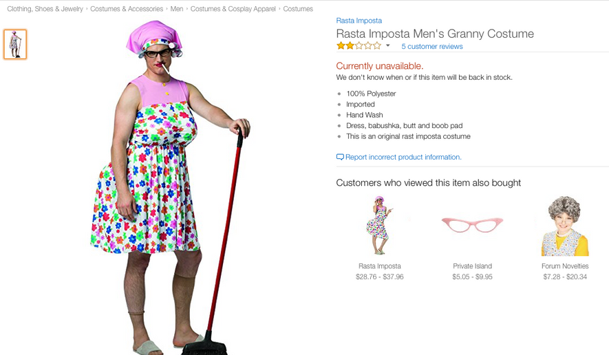 """A men's """"granny"""" costume which was deemed offensive and removed from Amazon, Walmart and Target websites."""