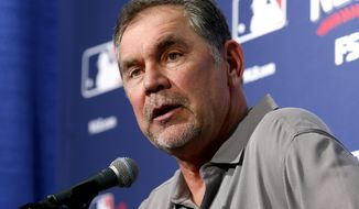 San Francisco Giants manager Bruce Bochy listens to a question during a news conference Thursday, Oct. 6, 2016, in Chicago. The Giants are scheduled to face the Chicago Cubs in Game 1 of a baseball National League Division Series on Friday. (AP Photo/Nam Y. Huh)