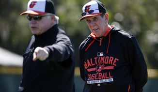 FILE - In this Feb. 20, 2016, file photo, Baltimore Orioles manager Buck Showalter , left, explains a drill as pitching coach Dave Wallace listens during  the first day of spring training baseball for Orioles pitchers and catchers  in Sarasota, Fla. Wallace is retiring as the Orioles pitching coach. The 69-year-old spent three years at the position and has been in coaching for 36 years. (AP Photo/Gene J. Puskar, File)