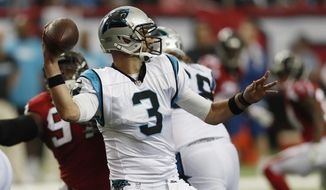 FILE - In this Oct. 2, 2016, file photo, Carolina Panthers quarterback Derek Anderson (3) works against the Atlanta Falcons during the second half of an NFL football game in Atlanta. With Panthers quarterback Cam Newton out with a concussion, Anderson could start Monday night, Oct. 10, 2016, against Tampa Bay. (AP Photo/John Bazemore, File)