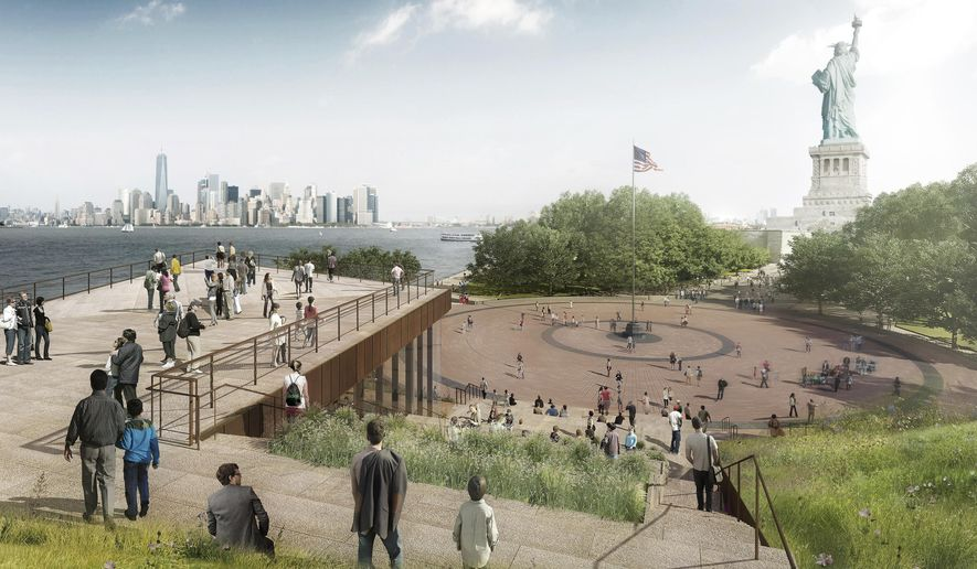 This artist rendering provided by the Statue of Liberty-Ellis Island Foundation shows a design for a new free-standing Statue of Liberty Museum on Liberty Island. The groundbreaking ceremony Thursday, Oct. 6, 2016, markes the start of construction for the 20,000-square-foot building, slated to open in 2019 across the circular plaza from the statue. (Statue of Liberty-Ellis Island Foundation via AP)