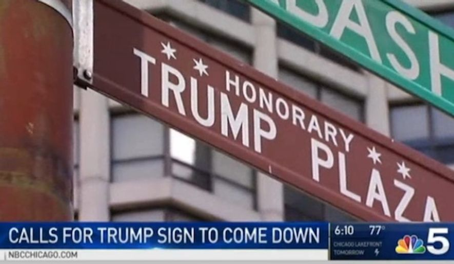 "A proposed ordinance introduced Wednesday by Ald. Brendan Reilly seeks to remove the honorary ""Trump Plaza"" street sign from Chicago's North Wabash Avenue. (NBC Chicago)"