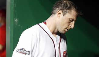Max Scherzer allowed two home runs in Game 1 of the NLDS on Friday night. / AP photo