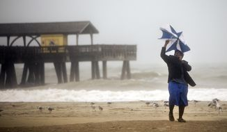 Preston Payne tires to hold his umbrella as he watches the waves near the Tybee pier as Hurricane Matthew makes its way up the East Coast, Friday, Oct. 7, 2016, on Tybee Island, Ga.   Authorities warned that the danger was far from over, with hundreds of miles of coastline in Florida, Georgia and South Carolina still under threat of torrential rain and dangerous storm surge as the most powerful hurricane to menace the Atlantic Seaboard in over a decade pushed north. (AP Photo/Stephen B. Morton)