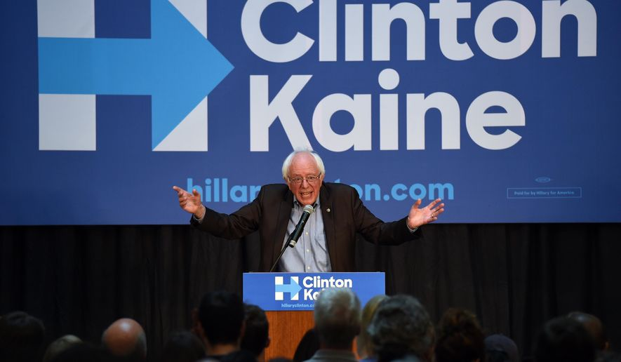 Sen. Bernie Sanders, I-Vt., speaks in support of Democratic presidential candidate, Hillary Clinton, at the University of Michigan Museum of Art, in Ann Arbor, Mich., on Thursday, Oct. 6, 2016. (Melanie Maxwell/The Ann Arbor News via AP)