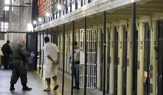In this Aug. 16, 2016 photo, a condemned inmate is led out of his east block cell on death row at San Quentin State Prison in San Quentin, Calif. (AP Photo/Eric Risberg, File)