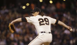 FILE - In this Sept. 12, 2016, file photo, San Francisco Giants starting pitcher Jeff Samardzija throws during the third inning of a baseball game against the San Diego Padres in San Francisco. Samardzija is scheduled to start Game 2 against the Chicago Cubs in a National League Division Series. (AP Photo/Eric Risberg, File)