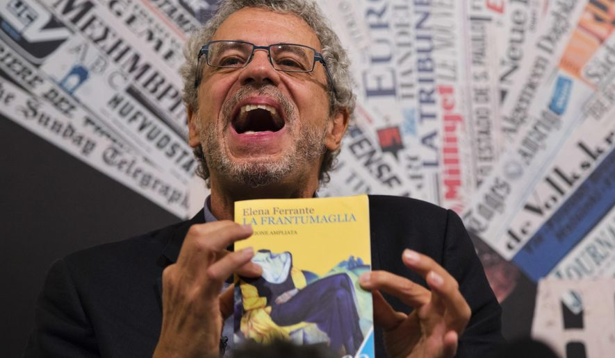 "Italian journalist Claudio Gatti of the Italian financial daily Il Sole 24 Ore, speaks during a press conference at the Foreign Press Association in Rome, Friday, Oct. 7, 2016. Gatti, who claims to have exposed the identity of best-selling author Elena Ferrante defended his investigation Friday as having debunked ""lies"" about her background and contributed to knowledge about her work. (AP Photo/Domenico Stinellis)"