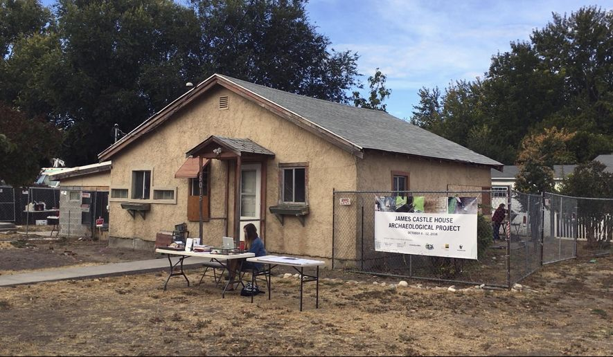The home of Idaho artist James Castle in Boise, Idaho on Friday, Oct. 7, 2016. City officials have hired archaeologists with the University of Idaho to help uncover possible clues into the life of the self-taught blind and deaf artist. (AP Photo/Kimberlee Kruesi)