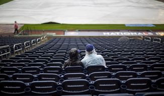 Nationals Park saw only rain, not baseball, on Saturday. / AP photo