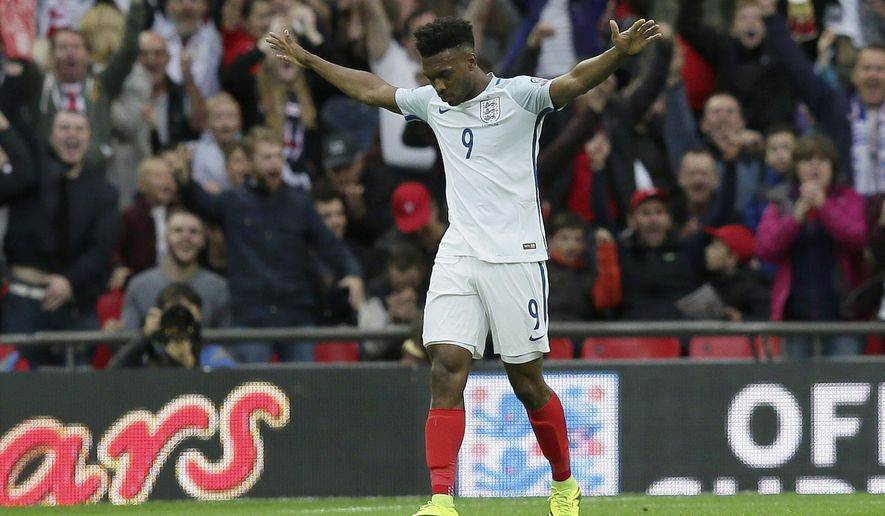 England's Daniel Sturridge celebrates after scoring a goal during the World Cup Group F qualifying soccer match between England and Malta at Wembley stadium in London, Saturday Oct. 8, 2016. (AP Photo/Tim Ireland)