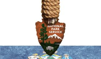 Illustration on a National Park Service land grab in Maine by Alexander Hunter/The Washington Times