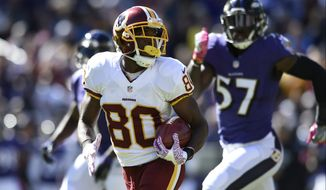 Washington Redskins' Jamison Crowder returns a punt for a touchdown during the first half of an NFL football game against the Baltimore Ravens, Sunday, Oct. 9, 2016, in Baltimore. (AP Photo/Gail Burton)