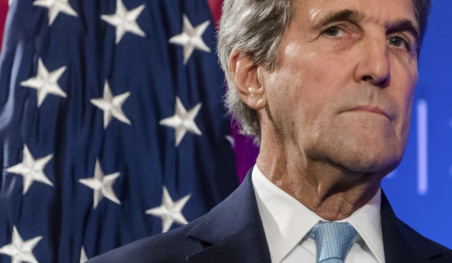 In this Oct. 4, 2016 photo, U.S. Secretary of State John Kerry pauses, during a speech at an event hosted by The German Marshall Fund (GMF) and the U.S. Mission to the EU at Concert Noble in Brussels.  Kerry called Friday for Russia and Syria to face a war crimes investigation for their attacks on Syrian civilians, further illustrating the downward spiral in relations between Washington and Moscow.  (AP Photo/Geert Vanden Wijngaert)