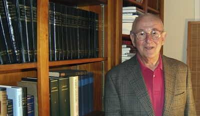 In a 2008 photo provided by Bard College, Jacob Nuesner, Senior Fellow, Institute of Advanced Theory, Professor of Religion and Theology and Bard Center Fellow stands in his study at home. Neusner, a renowned scholar of Judaism, and author of more than 900 books died Saturday, Oct. 8, 2016, at his home in New York State, according to Bard College. He was 84.  (Emily Darrow/Bard College via AP)