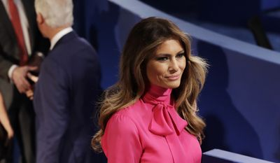 Melania Trump, wife of Donald Trump, arrives  before the second presidential debate between Republi can presidential nominee Donald Trump and Democratic presidential nominee Hillary Clinton at Washington University in St. Louis, Sunday, Oct. 9, 2016.(AP Photo/Patrick Semansky)