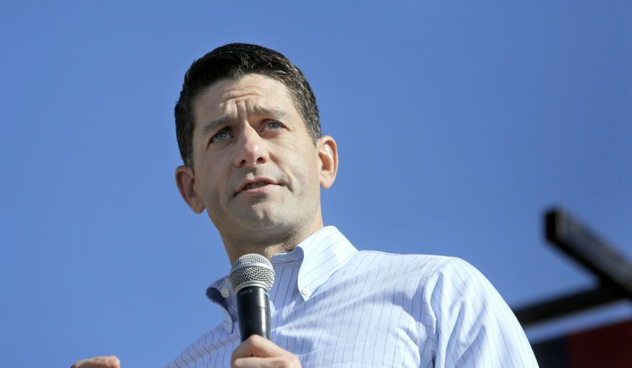 House Speaker Paul Ryan speaks during the 1st Congressional District Republican Party of Wisconsin's annual Fall Fest event held in Elkhorn, Wis., on Saturday, Oct. 8, 2016. (Anthony Wahl/The Janesville Gazette via AP) ** FILE **