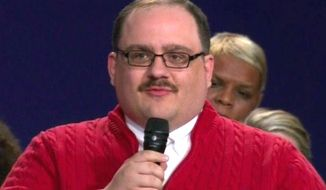 The second U.S. presidential debate from St. Louis, Missouri, thrust town hall questioner Kenneth Bone into the national spotlight. His name immediately trended on Facebook after a question about U.S. energy policy, Sunday, Oct. 9, 2016. (CNN screenshot)