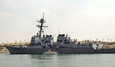 In this Saturday, March 12, 2011, file photo, U.S. destroyer USS Mason sails in the Suez canal in Ismailia, Egypt. Two missiles fired from rebel-held territory in Yemen landed near an American destroyer passing by in the Red Sea, the U.S. Navy said on Monday, Oct. 10, 2016. (AP Photo/File)