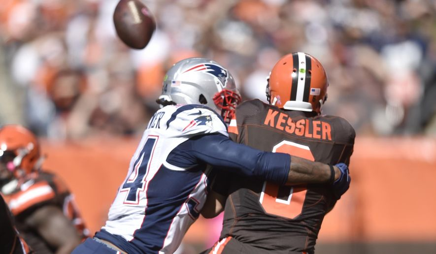 FILE - In this Oct. 9, 2016, file photo, New England Patriots middle linebacker Dont'a Hightower hits Cleveland Browns quarterback Cody Kessler in the first half of an NFL football game, in Cleveland. Kessler's pass went out of the end zone for a safety. The pain is only intensifying for the Browns. They had two more quarterbacks injured in Sunday's loss to New England and while there has been some sign of improvement under coach Hue Jackson, Cleveland is 0-5 and headed toward another dismal season. (AP Photo/David Richard, File)