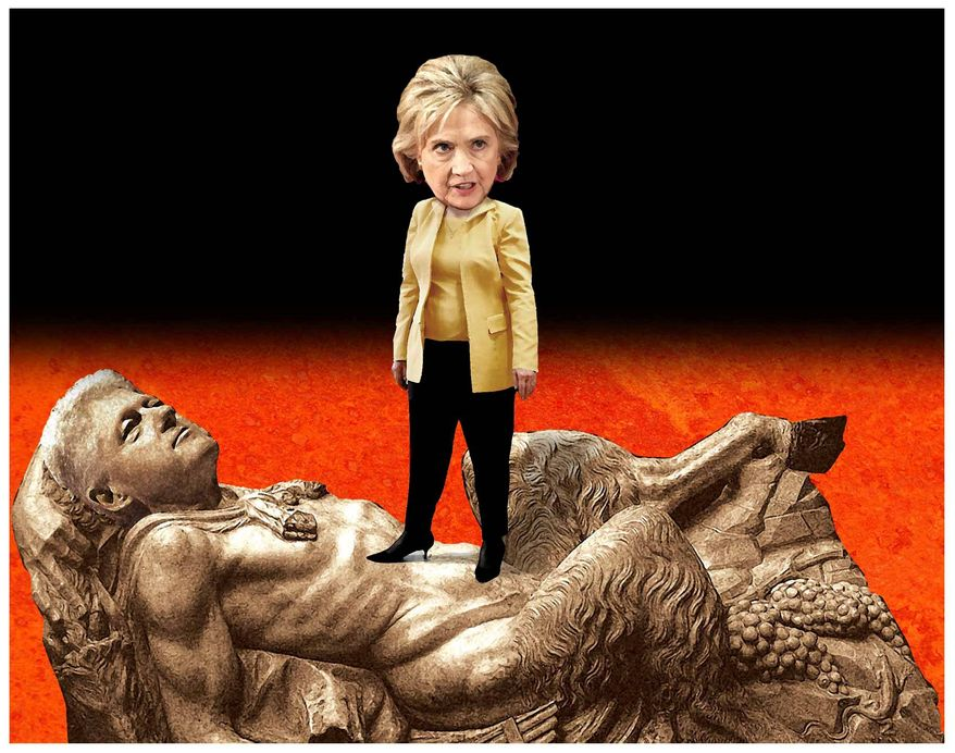 Illustration on the fruits of Bill and Hillary Clinton's sexual misadventures by Alexander Hunter/The Washington Times
