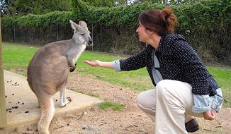 Communing with a wallaby in Australia.