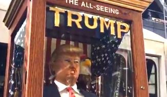 """A Donald Trump fortune-telling machine has been showing up throughout New York City on Tuesday, Oct. 11, 2016. The device is reminiscent of the """"Zoltar"""" machine from the 1988 Tom Hanks movie """"Big."""" (Facebook Live screenshot)"""