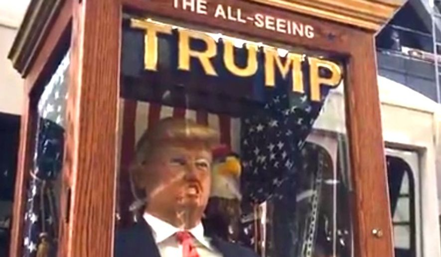 "A Donald Trump fortune-telling machine has been showing up throughout New York City on Tuesday, Oct. 11, 2016. The device is reminiscent of the ""Zoltar"" machine from the 1988 Tom Hanks movie ""Big."" (Facebook Live screenshot)"
